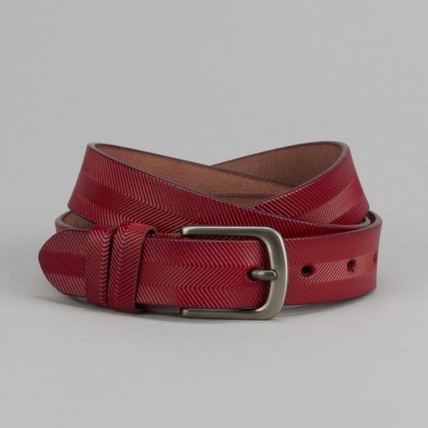 Ремень женский, ширина - 3 см, пряжка тёмный металл, цвет красный