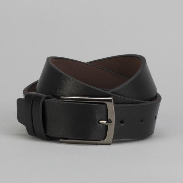 Ремень мужской, гладкий, пряжка металл, ширина - 4 см, цвет чёрный