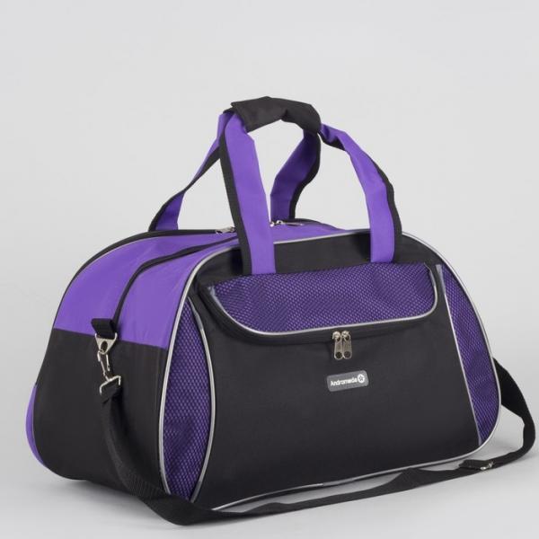Сумка спортивная, отдел на молнии, наружный карман, регулируемый ремень, цвет чёрный/сиреневый