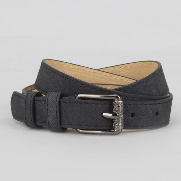 Ремень женский, джинс, 2 строчки, пряжка тёмный металл, ширина - 2,3 см, цвет чёрный