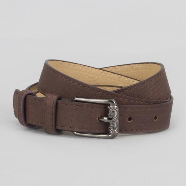 Ремень женский, джинс, 2 строчки, пряжка тёмный металл, ширина - 2,3 см, цвет кофе