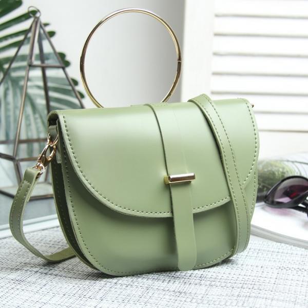 Сумка женская, отдел на клапане, наружный карман, длинный ремень, металлическая ручка, цвет зелёный