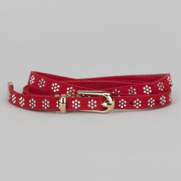 Ремень женский, стразы, пряжка хомут, кончик золото, ширина - 1 см, цвет красный