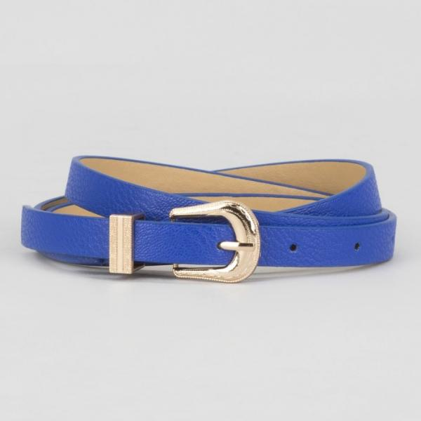 Ремень женский, гладкий, пряжка хомут золото, ширина - 1,3 см, цвет синий