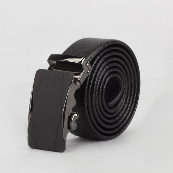 Ремень мужской, гладкий, пряжка зажим металл, ширина - 3,5 см, цвет чёрный