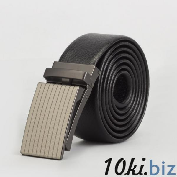 Ремень мужской, гладкий, пряжка зажим матовый металл, ширина - 3,5 см, цвет чёрный купить в Беларуси - Ремни и пояса