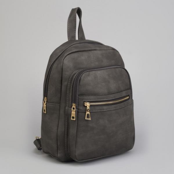 Рюкзак молодёжный, отдел на молнии, 2 наружных кармана, цвет тёмно-серый