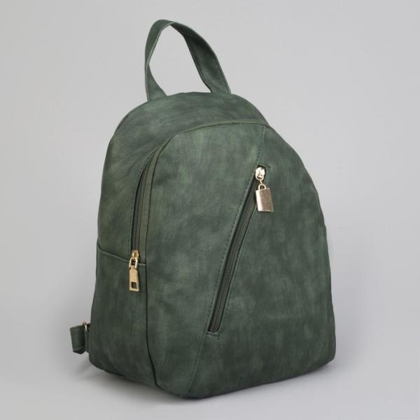 Рюкзак молодёжный, отдел на молнии, 2 наружных кармана, цвет зелёный