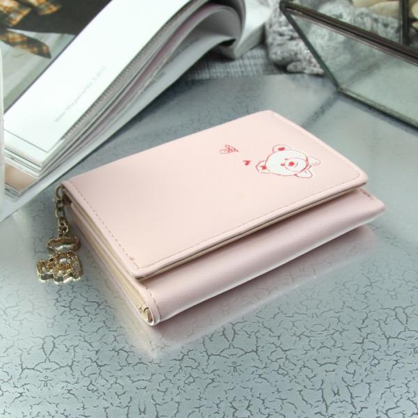 Кошелёк, отдел на клапане, цвет розовый