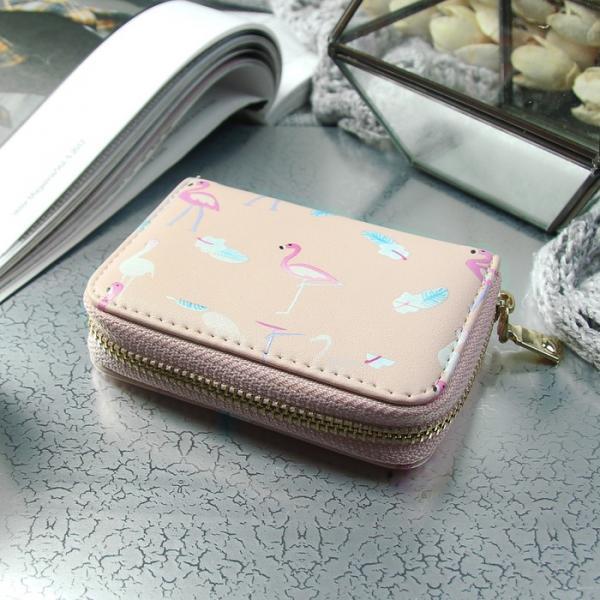 Визитница «Фламинго», горизонтальная, 1 ряд, 9 картхолдеров, цвет пудра