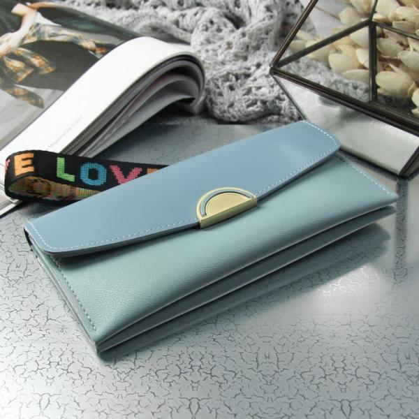 Кошелёк женский, 2 отдела, для карт, ручка, цвет голубой