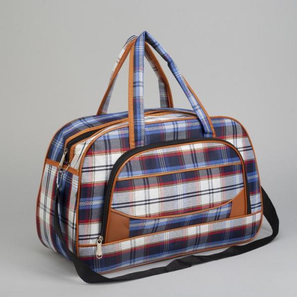 Сумка дорожная, отдел на молнии, наружный карман, длинный ремень, цвет синий/голубой