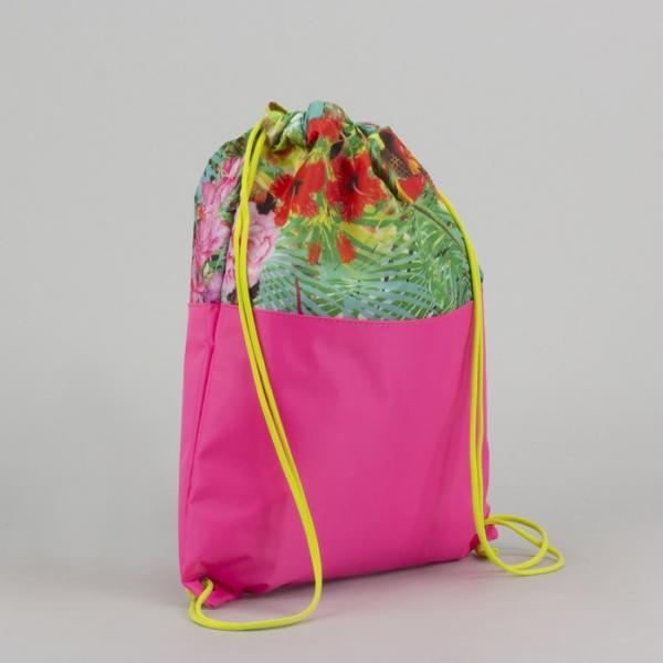 Сумка-мешок для обуви «Листва», цвет розовый/зелёный