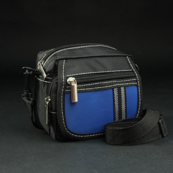 Сумка поясная, отдел на молнии, 2 наружных кармана, регулируемый ремень, цвет чёрный/синий