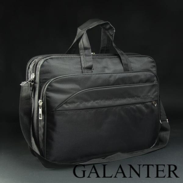 Фото Сумки, Мужские сумки, Деловые сумки Сумка деловая, 2 отдела на молниях, 3 наружных кармана, длинная стропа, цвет чёрный
