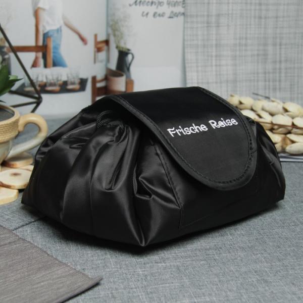 Косметичка-сумочка, отдел на шнуре, цвет чёрный