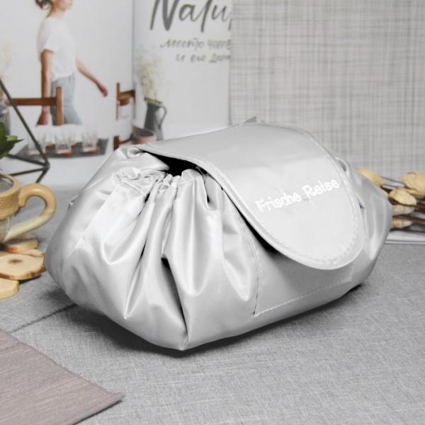 Косметичка-сумочка, отдел на шнуре, цвет серый