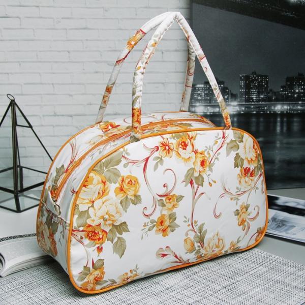 Косметичка-сумочка, отдел на молнии, ручки, цвет белый/оранжевый