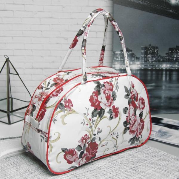 Косметичка-сумочка «Розы», отдел на молнии, ручки, цвет белый/красный