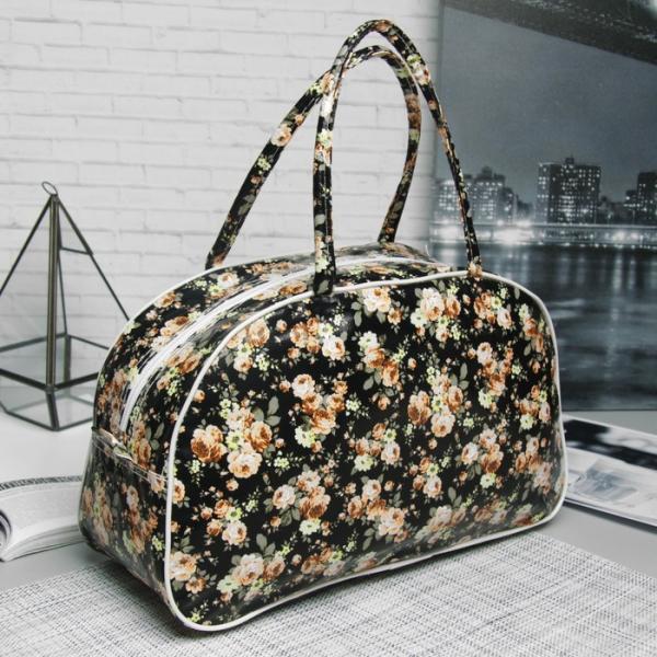 Косметичка-сумочка, отдел на молнии, ручки, цвет чёрный/жёлтый