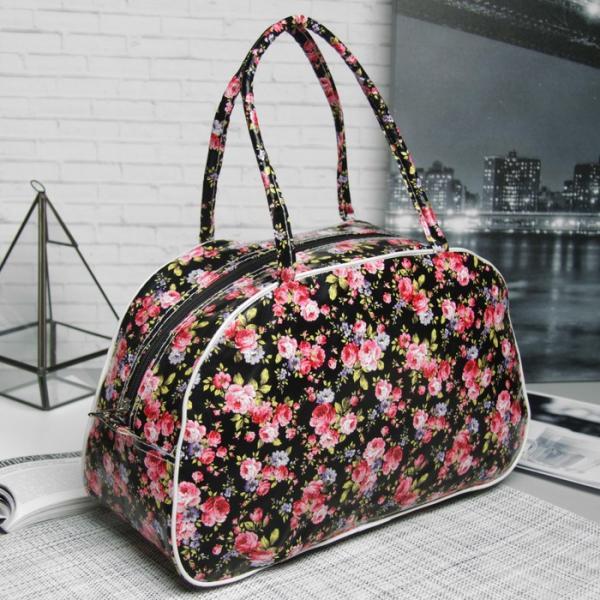 Косметичка-сумочка, отдел на молнии, ручки, цвет чёрный/розовый