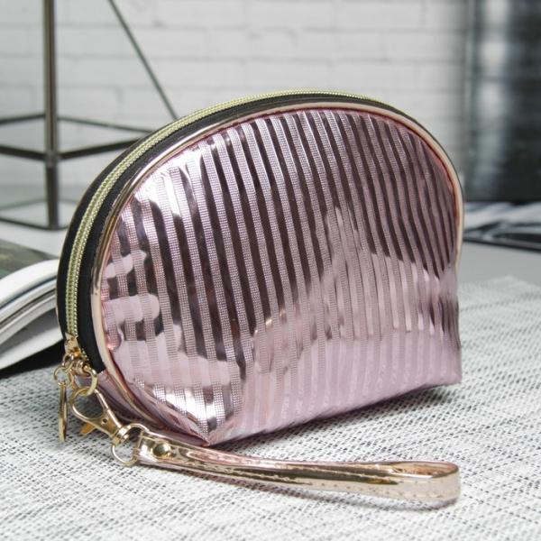 Косметичка-сумочка «Полоски», отдел на молнии, ручка, цвет розовый