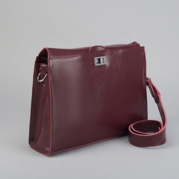 Портфель на замке, наружный карман, длинный ремень, цвет бордовый