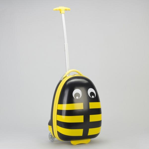 Чемодан детский, отдел на молнии, 2 колеса, цвет жёлтый