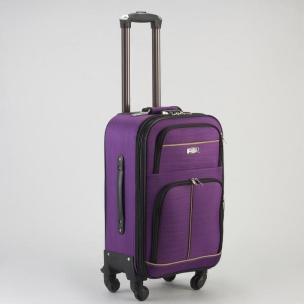 """Чемодан малый 20"""", отдел на молнии, с расширением, 2 наружных кармана, кодовый замок, 4 колеса, цвет фиолетовый"""