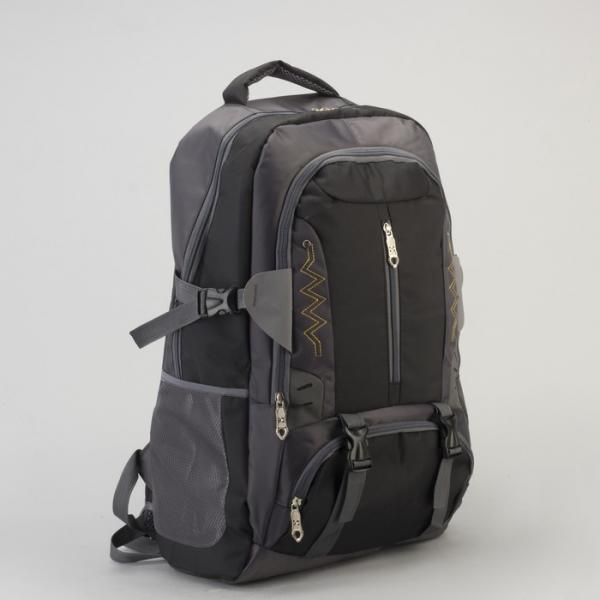 Рюкзак туристический, отдел на молнии, 5 наружных карманов, усиленная спинка, цвет чёрный/серый