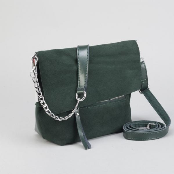 Сумка женская, отдел с перегородкой, 2 наружных кармана, длинный ремень, цвет зелёный