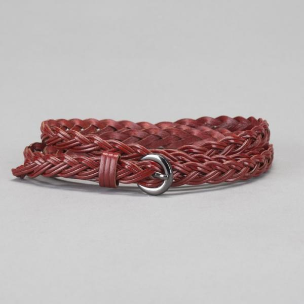 Ремень женский, плетение, пряжка тёмный металл, ширина - 1,2 см, цвет бордовый