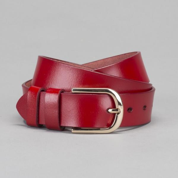 Ремень женский, гладкий, пряжка золото, ширина - 3,5 см, цвет красный