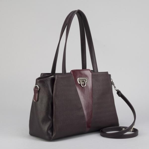 Сумка женская, отдел на молнии, 3 наружных кармана, длинный ремень, цвет баклажановый