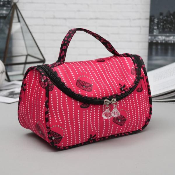 Косметичка-сумочка, отдел на молнии, зеркало, цвет малиновый