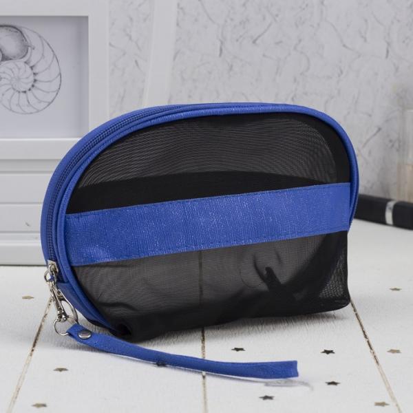Косметичка-сумочка, отдел на молнии, с ручкой, цвет чёрный/синий