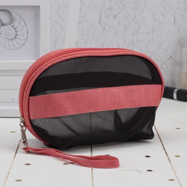 Косметичка-сумочка, отдел на молнии, с ручкой, цвет чёрный/розовый