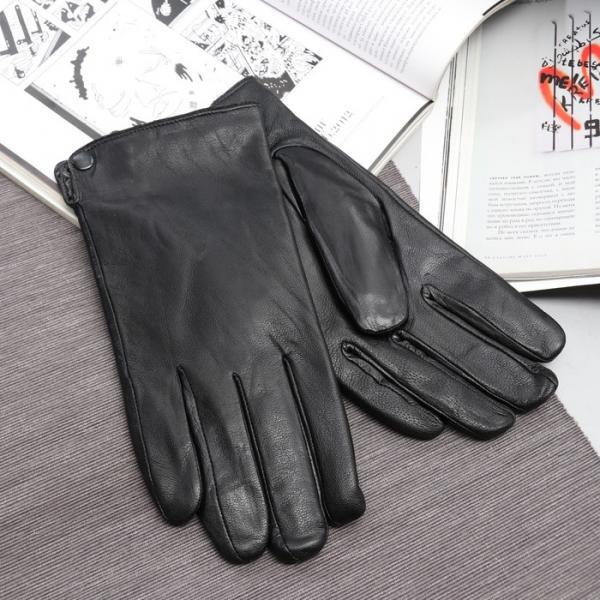 Перчатки мужские, размер 11, длина 24 см, подклад искусственный мех, гладкие, цвет чёрный