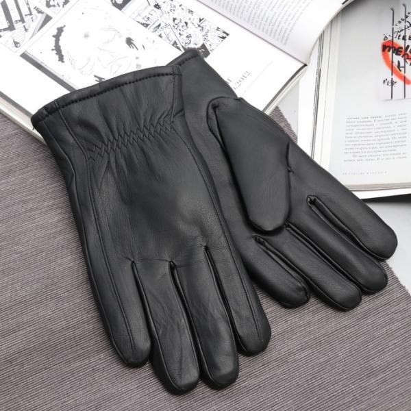 Перчатки мужские, утеплённые, размер 12,5, длина 24 см, подклад искусственный мех, резинка, цвет чёрный
