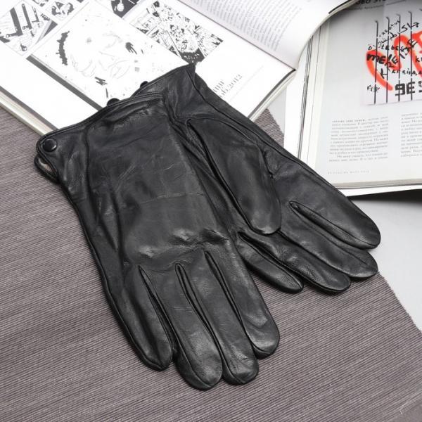 Перчатки мужские, размер 10, длина 25 см, подклад шерсть, гладкие, цвет чёрный