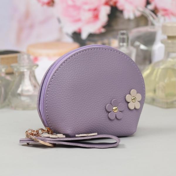 Ключница-кошелёк, отдел на молнии, с кольцом, с ручкой, цвет сиреневый