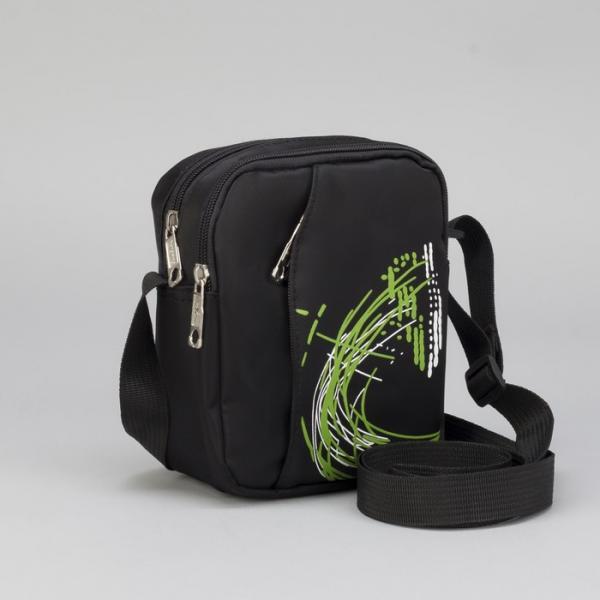 Сумка мужская, 2 отдела, наружный карман, регулируемый ремень, цвет чёрный/зелёный
