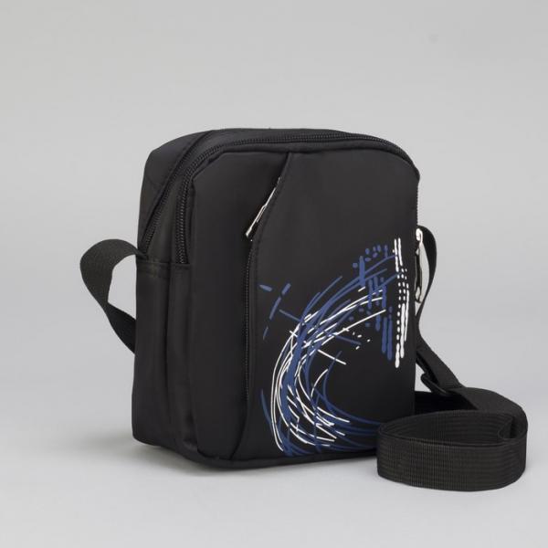 Сумка мужская, 2 отдела, наружный карман, регулируемый ремень, цвет чёрный/синий