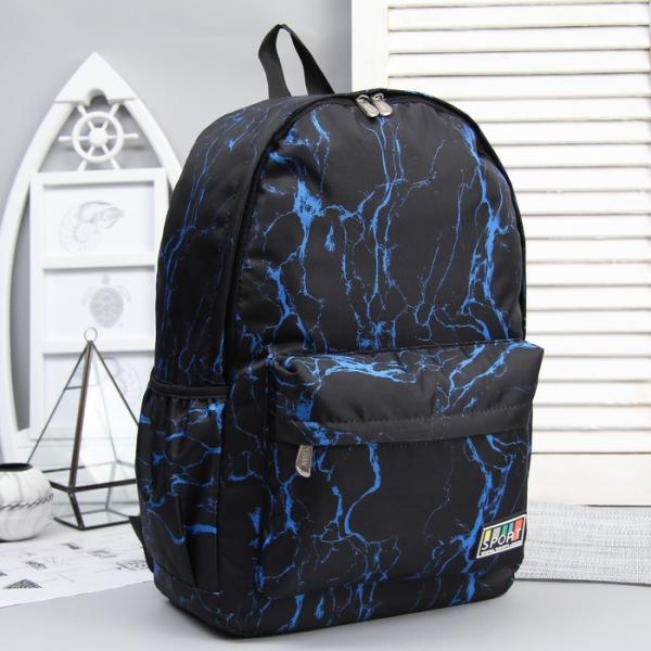Рюкзак молодёжный, отдел на молнии, 3 наружных кармана, цвет чёрный/синий