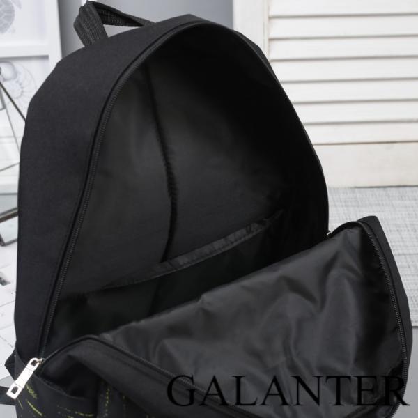 Фото Рюкзаки Рюкзак молодёжный, отдел на молнии, 3 наружных кармана, цвет чёрный/зелёный