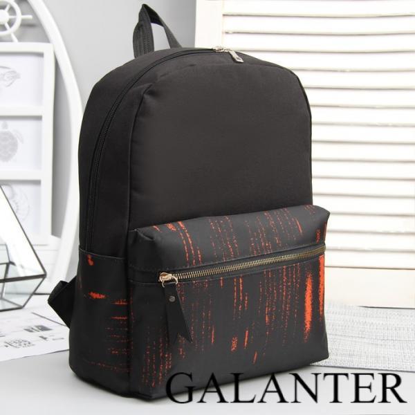 Фото Рюкзаки Рюкзак молодёжный, отдел на молнии, 3 наружных кармана, цвет чёрный/оранжевый
