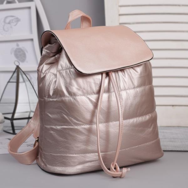 Рюкзак молодёжный, отдел на шнурке, цвет перламутр пудра