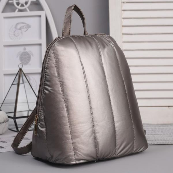 Рюкзак молодёжный, отдел на молнии, цвет перламутр бронза