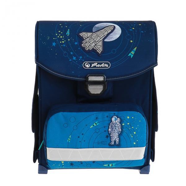 Ранец на замке Herlirz SMART 38х30х21 см, для мальчика, Space, синий