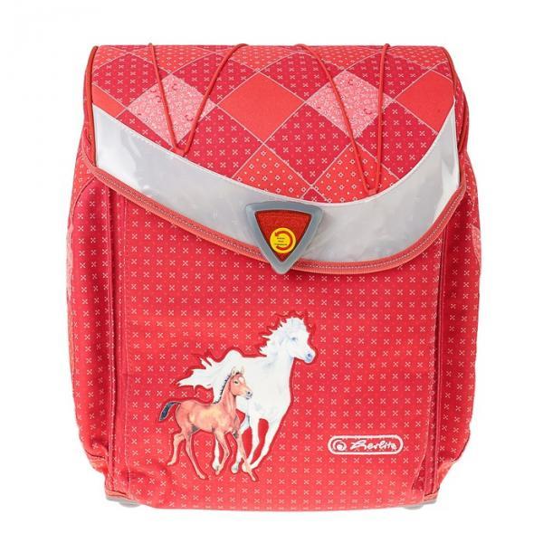 Ранец на замке Herlirz Flexi 39х34х22 см, для девочки, Dinky Horses, красный